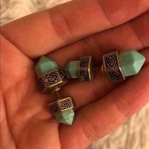Turquoise Aztec style earrings